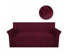 vidaXL funda elástica de tela acanalada color borgoña para sofá