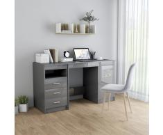 vidaXL Escritorio de aglomerado gris brillante 140x50x76 cm