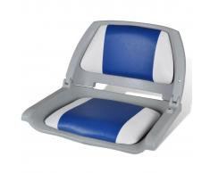 vidaXL Asiento de barco con respaldo plegable, gris, con almohada blanca/azul