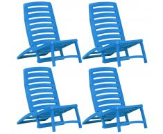 vidaXL Silla de playa plegable de plástico 4 unidades azul