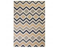 vidaXL Alfombra moderna estampado zigzag marrón/negro/azul 180x280 cm