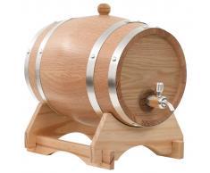 vidaXL Barril de vino con grifo roble macizo 6 L