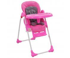 vidaXL Trona de bebé rosa y gris