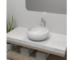 vidaXL Lavabo de baño redondo con grifo mezclador cerámica blanco