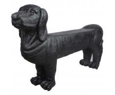 Esschert Design Banco de piedra de jardín perrro salchicha negro AV12