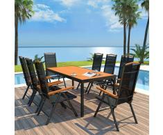 vidaXL Set comedor jardín con sillas plegables 9 piezas aluminio negro