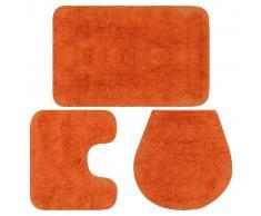 vidaXL Conjunto de alfombrillas de baño de tela 3 piezas naranja