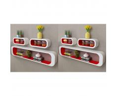 vidaXL Estanterías de cubos para pared 6 unidades blanco y rojo