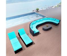 vidaXL Conjunto de sofás jardín con tumbonas poli ratán azul
