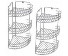 vidaXL Rinconera de ducha 3 estantes 2 piezas metal