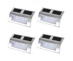 vidaXL Aplique solar para escaleras, 4 unidades