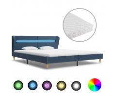 vidaXL Cama con LED y colchón tela azul 160x200 cm