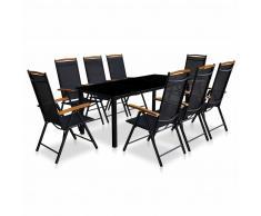 vidaXL Comedor de jardín con sillas plegables 9 piezas aluminio negro