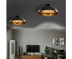 vidaXL Lámparas de techo 2 uds semiesféricas negro y dorado E27