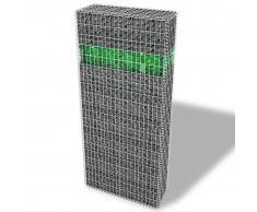 vidaXL Conjunto de gaviones con cesta para piedras vidrio y luz LED