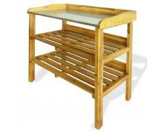 vidaXL Banco para macetas con 2 estantes madera maciza de acacia+zinc