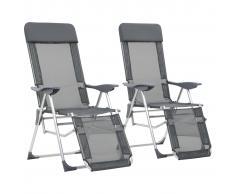 vidaXL Sillas de camping plegables con reposapiés 2 uds aluminio gris