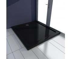 vidaXL Plato de ducha rectangular de ABS, color negro, 80 x 90 cm