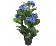 vidaXL Planta artificial hortensia con macetero 60 cm azul