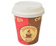 vidaXL Vasos desechables con tapa de café 1000 uds papel 240 ml 8 oz