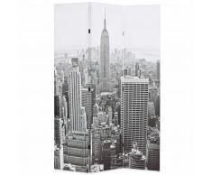 vidaXL Biombo divisor plegable 120x180 cm Nueva York blanco y negro