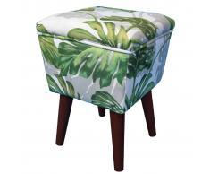 bhp Taburete cuadrado de madera hojas verdes 31x31x44 cm B412473-11