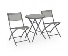 vidaXL Mesa y sillas de jardín plegables 3 pzas acero y textilene gris