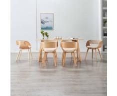 vidaXL Sillas de comedor 6 uds madera curvada y cuero sintético crema
