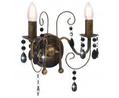 vidaXL Lámpara de pared con cuentas negro antiguo con 2 bombillas E14