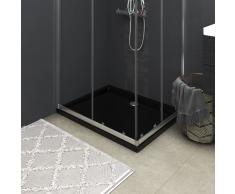 vidaXL Plato de ducha rectangular de ABS, color negro, 70 x 90 cm