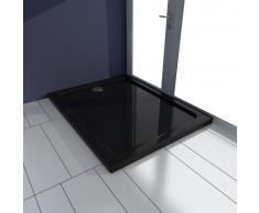 vidaXL Plato de ducha rectangular ABS, color negro, 70 x 90 cm