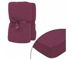 vidaXL Sábana ajustada 2 uds algodón 160 g/㎡ 140x200-160x200cm borgoña