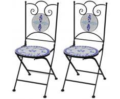vidaXL Sillas de jardín bistró plegables 2 uds cerámica azul y blanco