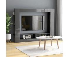 vidaXL Mueble para TV de aglomerado gris brillante 152x22x113 cm