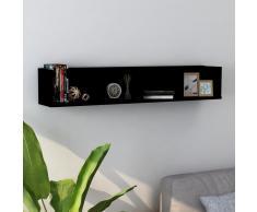 vidaXL Estante de pared para CD aglomerado negro 100x18x18 cm
