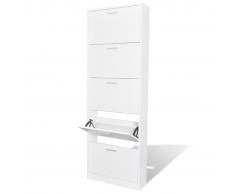 vidaXL Zapatero de madera blanco con 5 compartimentos
