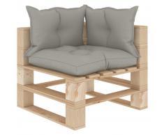 vidaXL Sofá de esquina de palés de jardín madera con cojines taupe