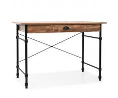 vidaXL Mesa escritorio con cajón 110x55x75 cm color roble