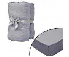 vidaXL Sábana bajera para cama de agua 200x200 cm algodón gris 2 uds