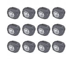 vidaXL Focos de jardín con forma de roca energía solar LED 12 unidades