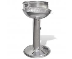 vidaXL Barbacoa redonda de acero inoxidable con pedestal