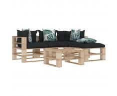 vidaXL Muebles de palés jardín 5 pzas madera cojines de flores y gris