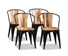vidaXL Sillas de comedor de madera maciza de acacia 4 unidades