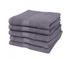 vidaXL Toallas de ducha 5 unidades algodón 500 gsm 70x140 cm antracita