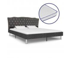 vidaXL Cama con colchón viscoelástico tela gris oscuro 180x200 cm