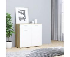 vidaXL Aparador de aglomerado blanco y roble Sonoma 80x36x75 cm