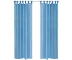 vidaXL 2 Cortinas turquesas transparentes 140 x 175 cm