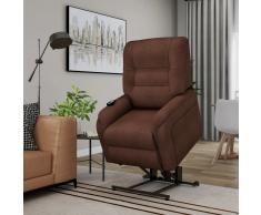 vidaXL Sillón de masaje reclinable para TV e incorporación tela marrón