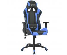 vidaXL Silla de escritorio reclinable Racing de cuero artificial azul
