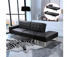 vidaXL Sofá cama reclinable de piel sintética, Negro